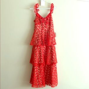 SOMEDAY SWOON CORAL RED EMBROIDERED MIDI DRESS